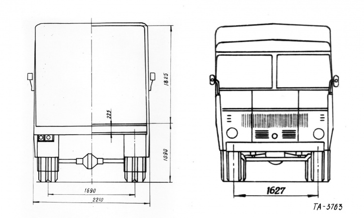 TA-3763 konteinerveo furgoonauto joonis.