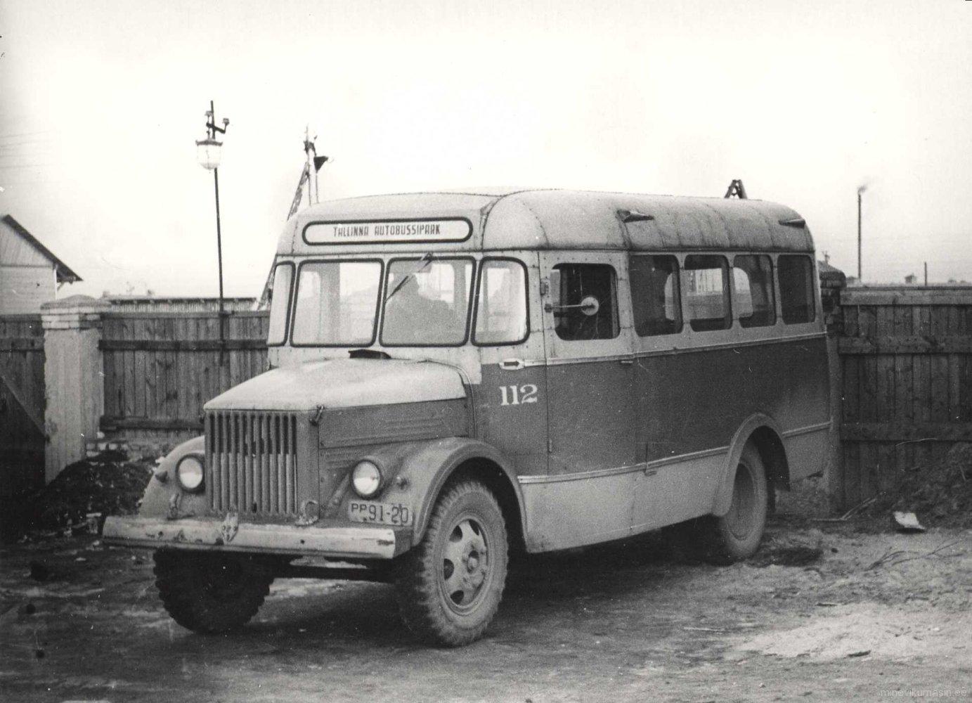 Tallinna Autobussipargi GZA-651 1959. a. riikliku reg. nr. PP 91-20, garaažinr 112.